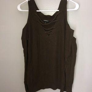 Express cold shoulder v lace up sweater Size S